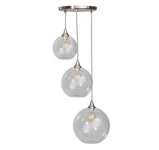 Calvello Hanglamp helder glas 3 lichtpunten (Max 60w) Plafondlamp