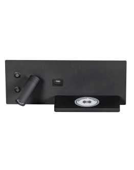 ETH Wandlamp Nighty Left LED 3W + 7W USB + Draadloos Laden | Zwart