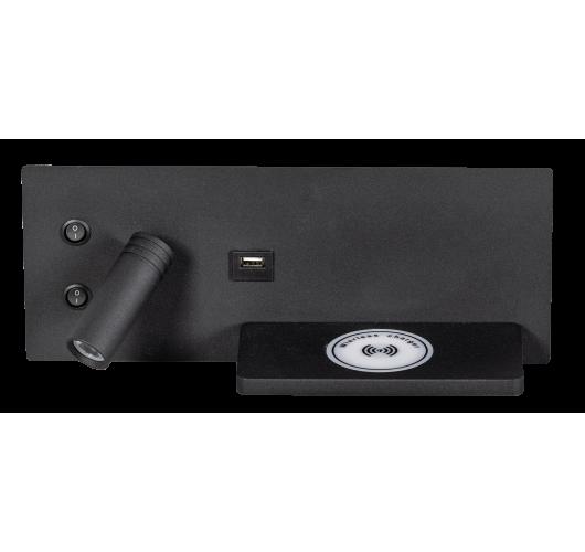ETH Wandlamp Nighty Left LED 3W + 7W USB + Draadloos Laden   Zwart Overigen