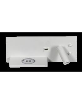 ETH Wandlamp Nighty Right LED 3W + 7W USB + Draadloos Laden | Wit