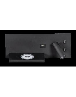ETH Wandlamp Nighty Right LED 3W + 7W USB + Draadloos Laden | Zwart