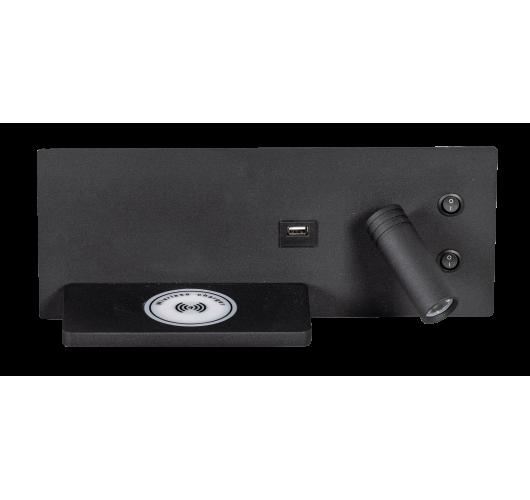ETH Wandlamp Nighty Right LED 3W + 7W USB + Draadloos Laden | Zwart Overigen