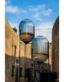 ETH Vloerlamp Glamm L 30cm/176cm Smoke Glass Ribbel / Zwart Vloerlampen