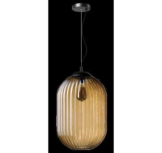 ETH Hanglamp Glamm M 30cm Ribbel Glas / Amber Hanglampen