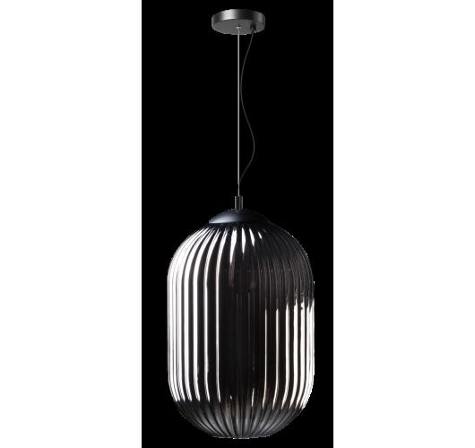 ETH Hanglamp Glamm M 30cm Smoke Glass Ribbel / Zwart Plafondlamp