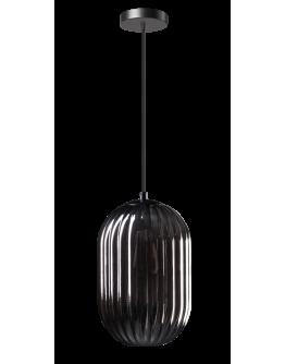 ETH Hanglamp Glamm S 20cm Smoke Glass Ribbel / Zwart