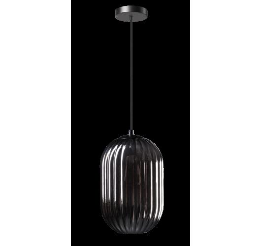 ETH Hanglamp Glamm S 20cm Smoke Glass Ribbel / Zwart Plafondlamp