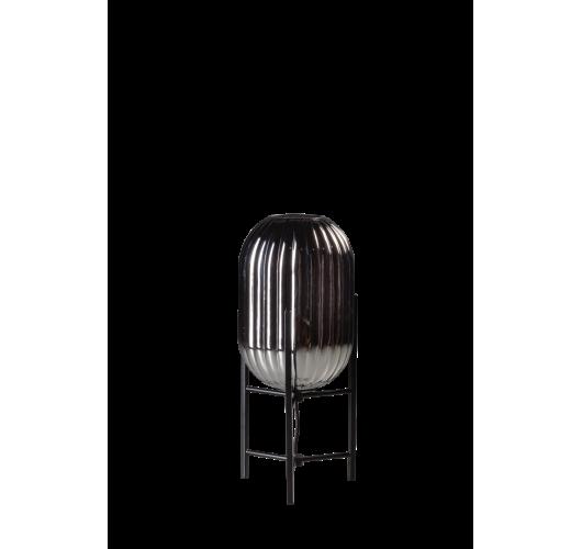 ETH Tafellamp Glamm S 20cm Smoke Glass Ribbel / Zwart Tafellampen