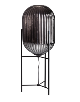 ETH Tafellamp Glamm L 30cm Smoke Glass Ribbel / Zwart