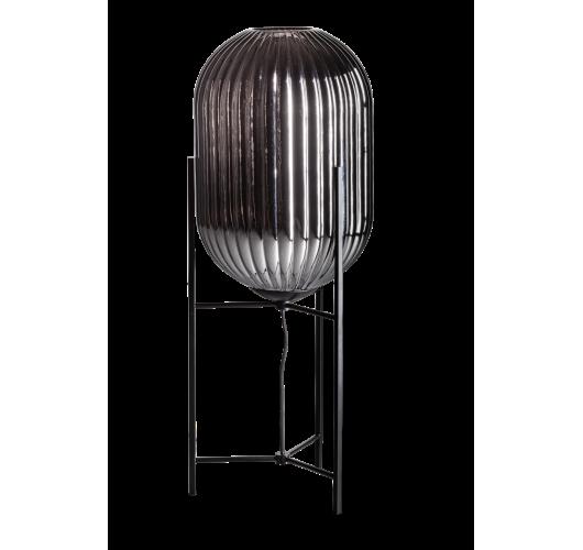 ETH Tafellamp Glamm L 30cm Smoke Glass Ribbel / Zwart Tafellampen