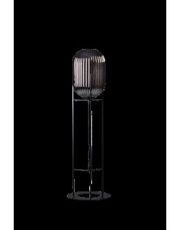 ETH Vloerlamp Glamm S 30cm/136cm Smoke Glass Ribbel / Zwart