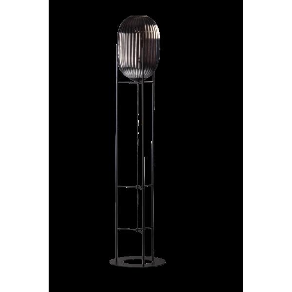 ETH Vloerlamp Glamm L 30cm/176cm Smoke Glass Ribbel / Zwart