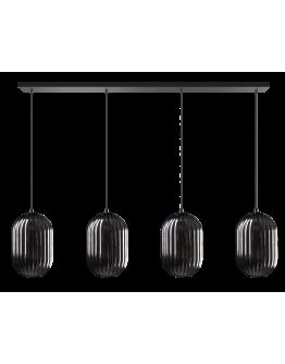 ETH Hanglamp Glamm Balk 4 Lichts Smoke Glass Ribbel / Zwart