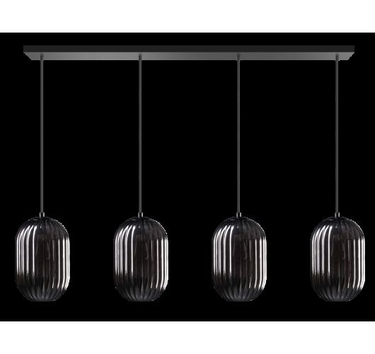 ETH Hanglamp Glamm Balk 4 Lichts Smoke Glass Ribbel / Zwart Hanglampen