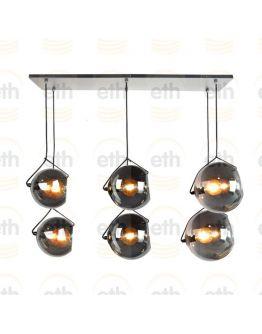 ETH Hanglamp balk Orb 6x E27 2x20-2x25-2x30cm Smoke Glass/ Zwart