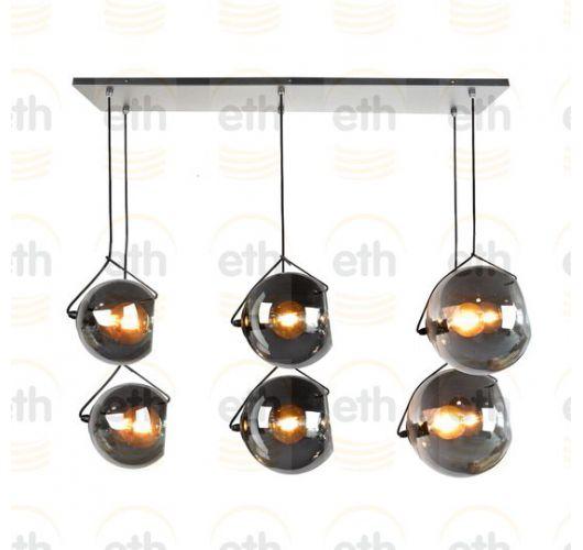 ETH Hanglamp balk Orb 6x E27 2x20-2x25-2x30cm Smoke Glass/ Zwart Hanglampen