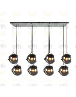 ETH Hanglamp balk Orb 8x E27 25cm Smoke Glass/  Zwart