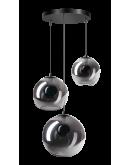 ETH Hanglamp Orb 3x 20-25-30cm Smoke Glas / Zwart Hanglampen