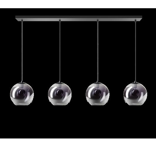 ETH Hanglamp Orb Balk 4 x 25cm Smoke Glas / Zwart Hanglampen