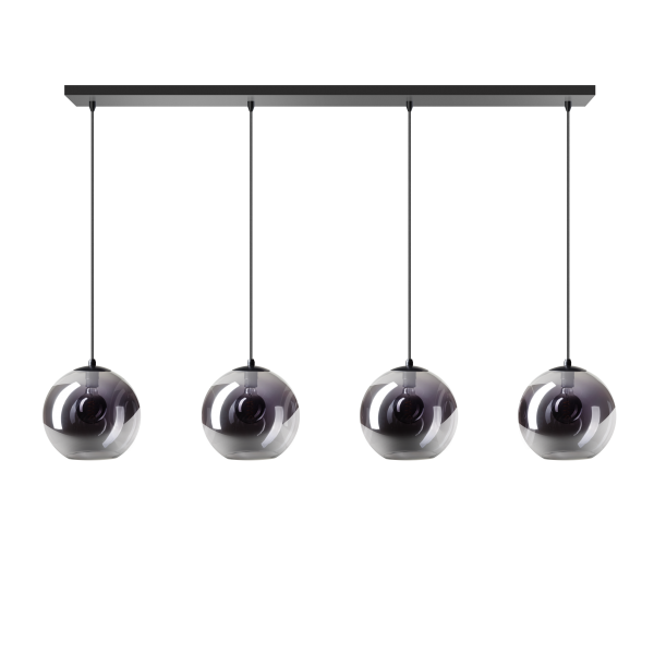 ETH Hanglamp Orb Balk 4 x 25cm Smoke Glas / Zwart
