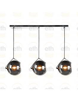 ETH Hanglamp balk Orb 3x E27 25cm Smoke Glas/ Zwart