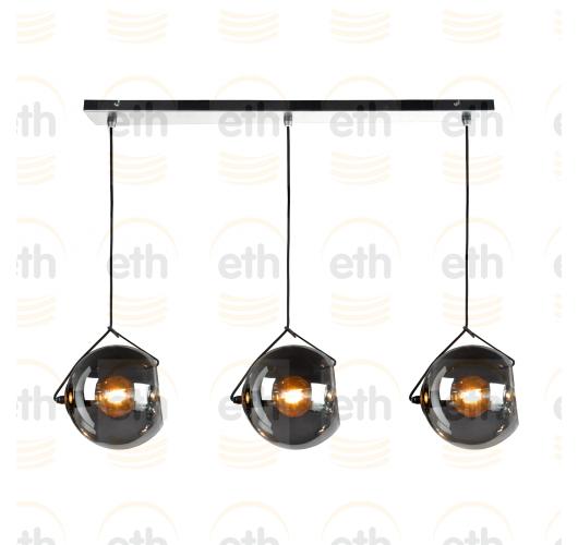 ETH Hanglamp balk Orb 3x E27 25cm Smoke Glas/ Zwart Hanglampen