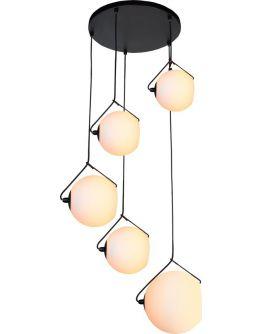 ETH  Hanglamp Orb 5x E27 2x20-2x25-30cm Opaal Glas