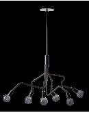 ETH Hanglamp Viper 6 Lichts H 165cm / B 120cm Zwart Plafondlamp