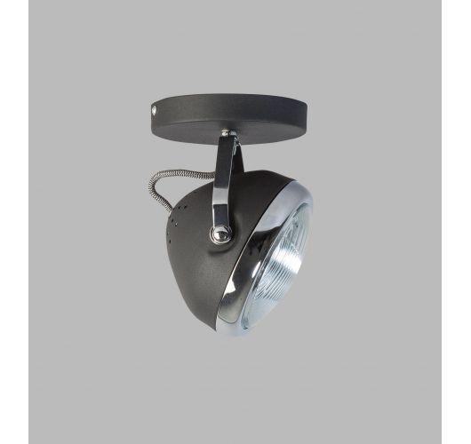 Headlight Plafond / Wand Spot Zwart / Chroom (max 42w) / 1 Spot Plafondlamp