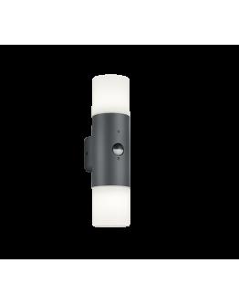 Trio Wandlamp Hoosic 2 Lichts IP44 Bewegingssensor | Antraciet