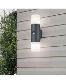 Trio Wandlamp Hoosic 2 Lichts IP44 Bewegingssensor   Antraciet Overigen