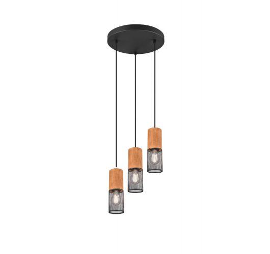 Trio Hanglamp Tosh 3 Lichts Ø28CM | Zwart Hanglampen