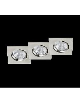 Trio Inbouwspot Pamir 3 Stuks Vierkant LED IP23 | Nikkel Mat