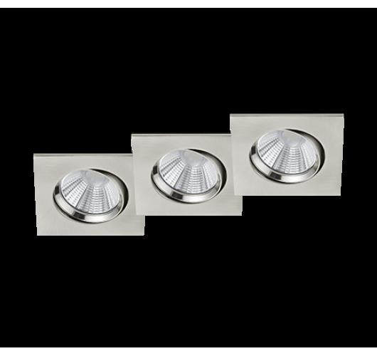 Trio Inbouwspot Pamir 3 Stuks Vierkant LED IP23 | Nikkel Mat Spots