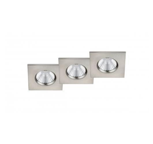 Trio Inbouwspots Zagros 3 Stuks Vierkant LED IP65 | Nikkel Mat Spots