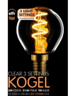 Led Spiraal Kogel Helder | 5W | E14 | 3 Stappen Dimbaar